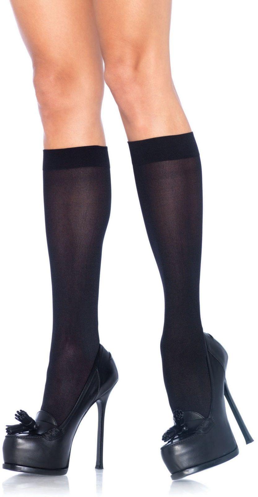 Leg Avenue Nylon Knee Highs 5572 Black