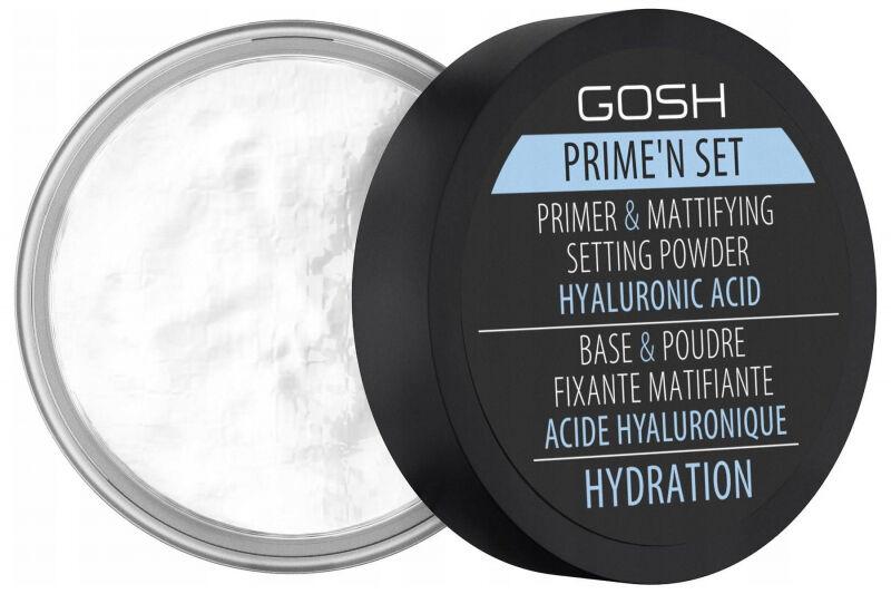GOSH - Prime''n set PRIMER & MATTIFYING SETTING POWDER - Fiksująco-matujący puder/baza z dodatkiem kwasu hialuronowego 3w1