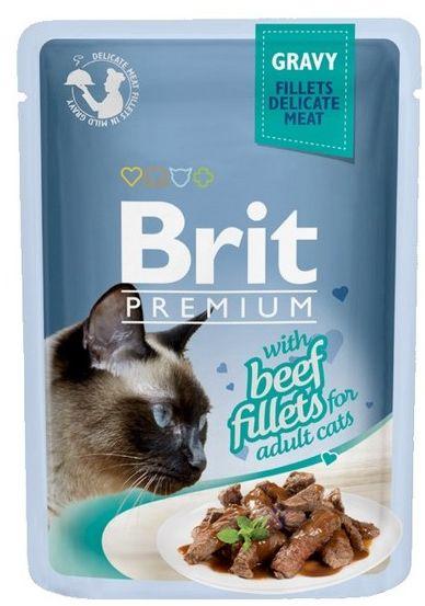 Brit Premium Cat Fillets with Beef sos saszetka 85g