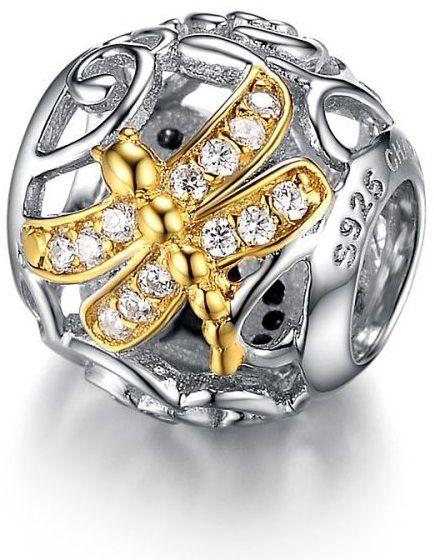 Rodowany pozłacany srebrny charms do pandora ważka dragonfly cyrkonie srebro 925 GS066