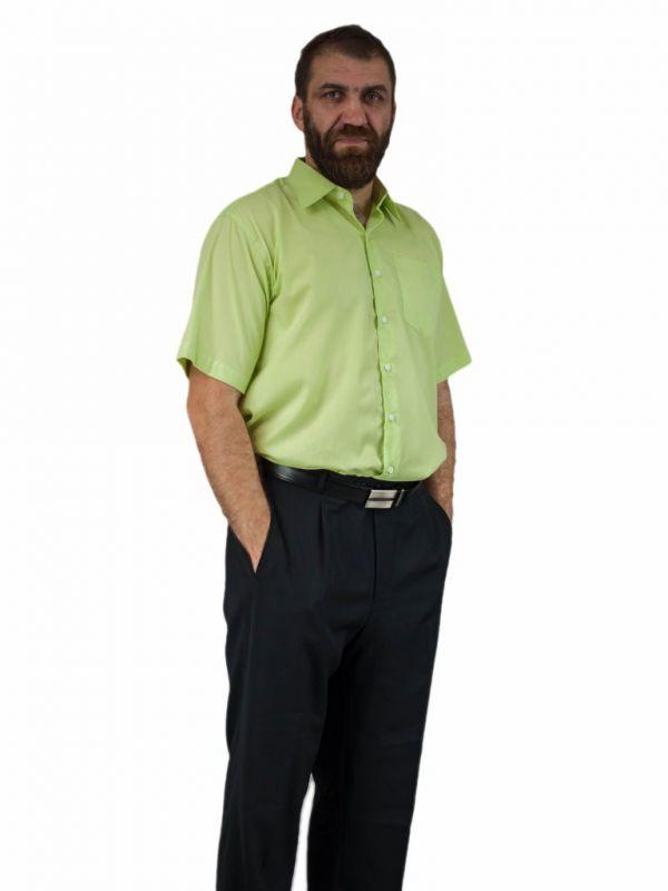 Koszula męska pistacjowa zielona BAWEŁNA z krótkim rękawem