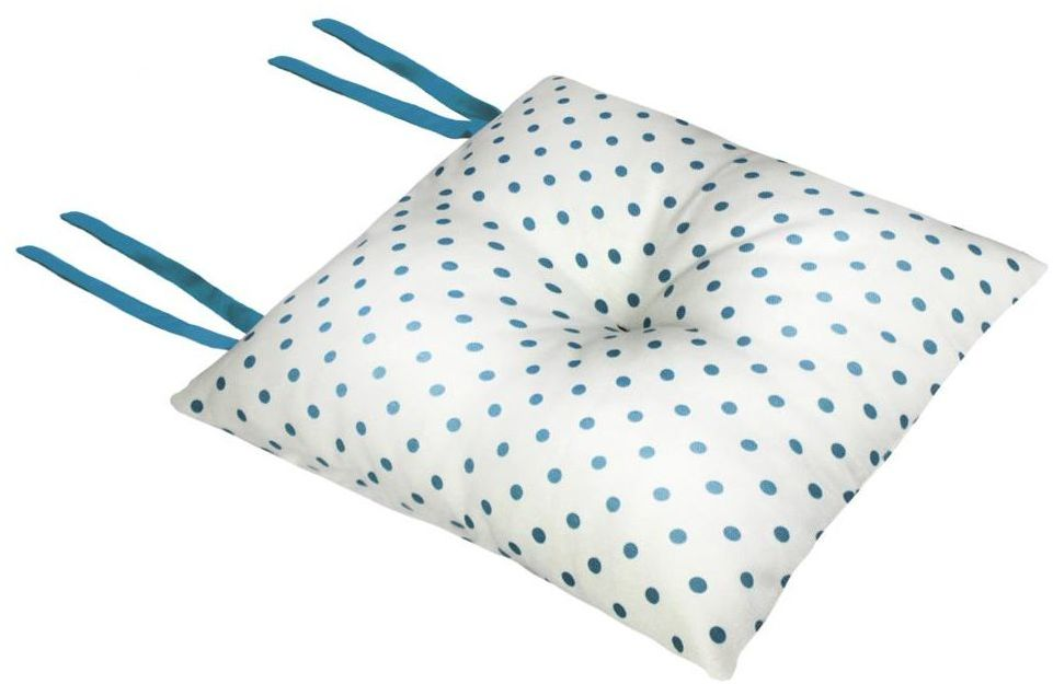 Poduszka na krzesło Silla Kropki biało-turkusowa 40 x 40 x 8 cm