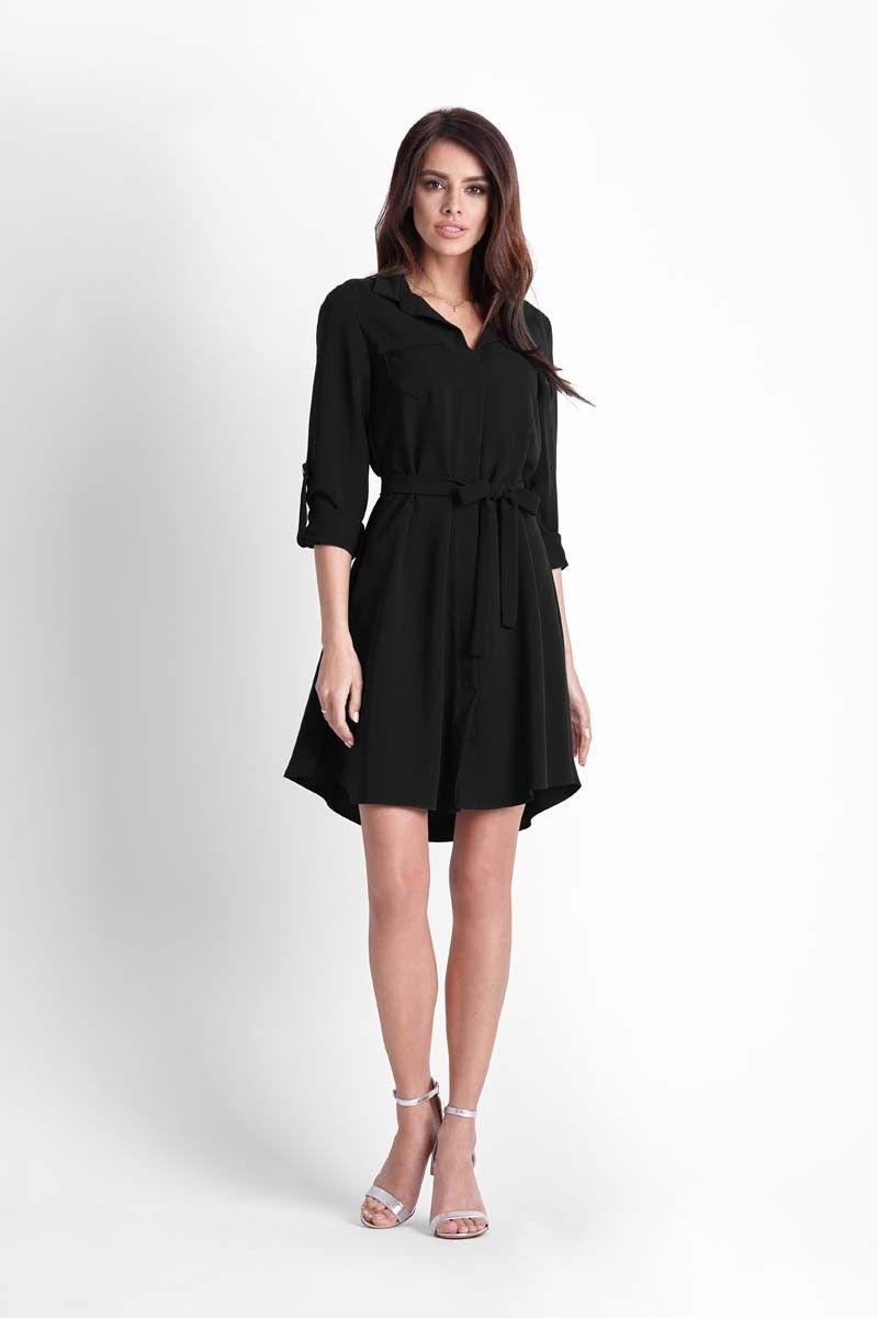 Czarna rozkloszowana sukienka koszulowa z paskiem