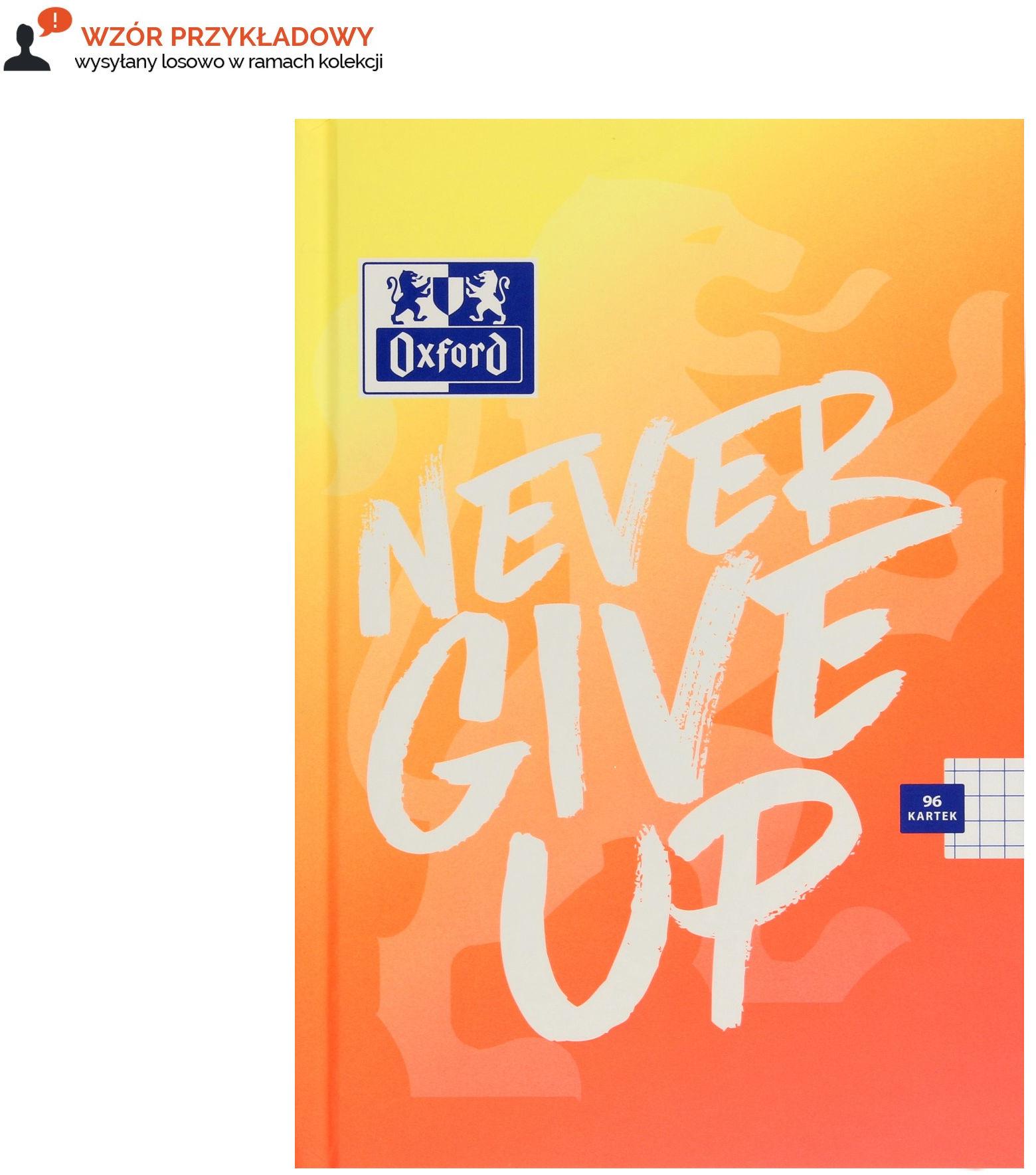 Brulion A5/96 kratka Never Give Up Oxford 400114799
