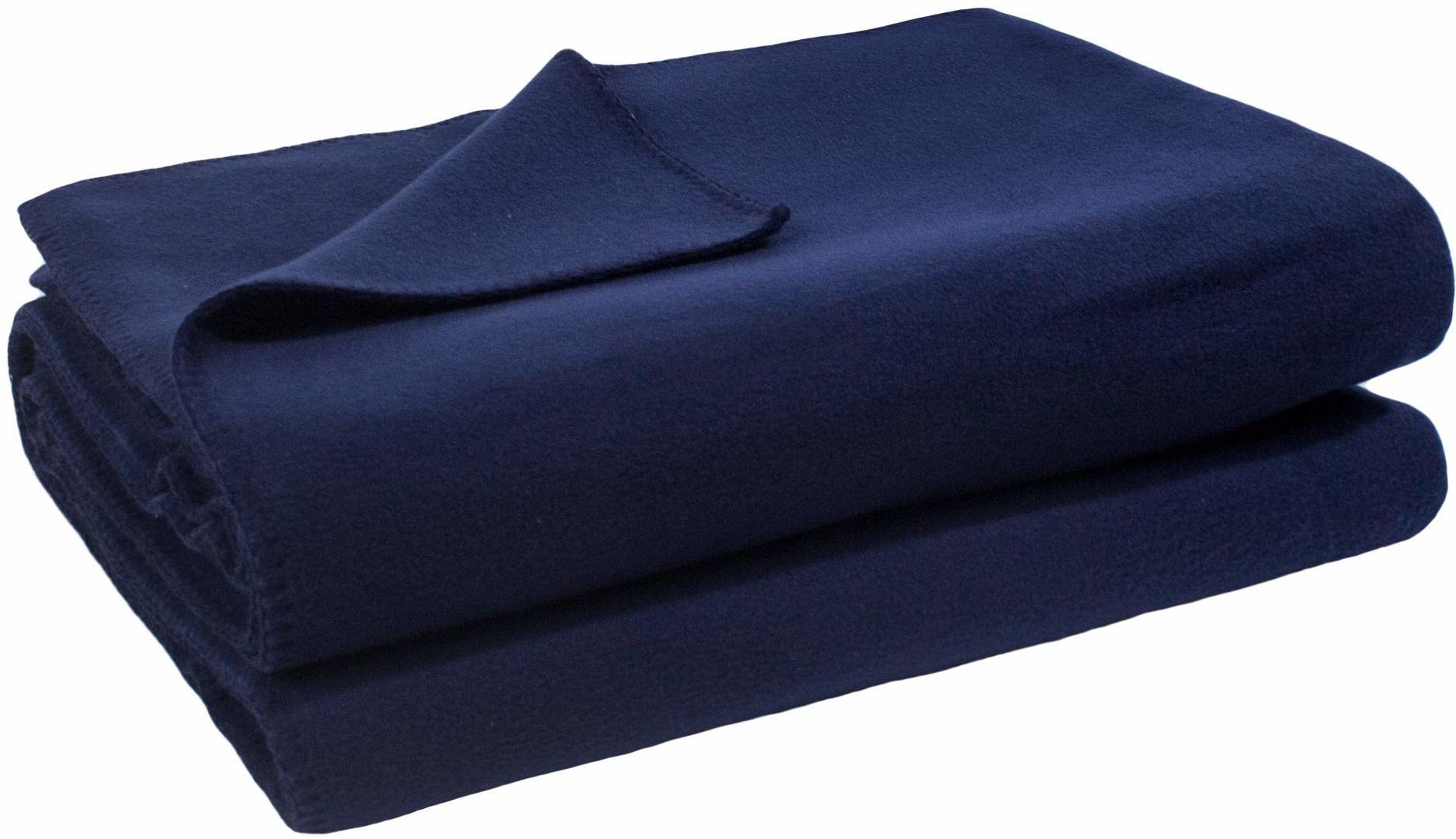 zoeppritz since 1828 miękki koc polarowy z haftem szydełkowym, miękki koc do wtulania się, 110 x 150 cm, 595 dark marina