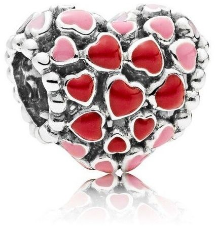 Rodowany srebrny charms do pandora kolorowe serce serduszko heart srebro 925 QS0080