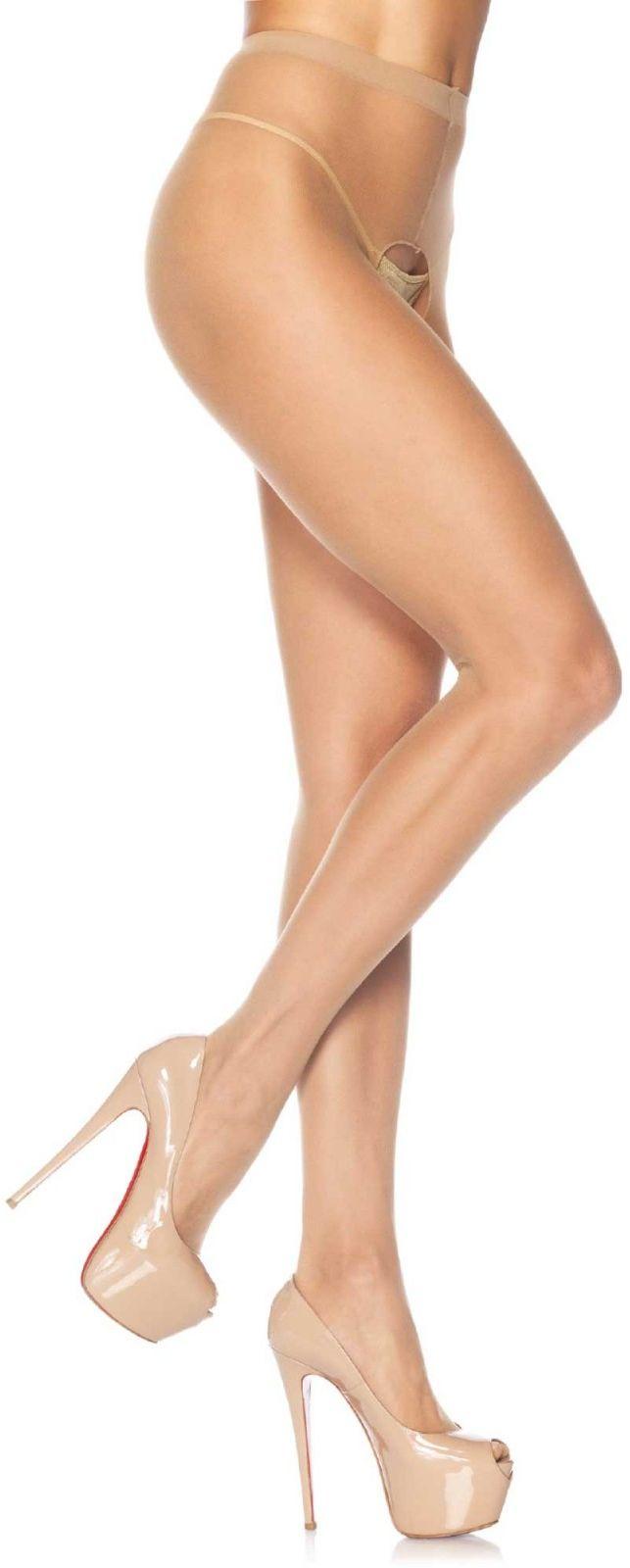 Leg Avenue Sheer Crotchless Pantyhose 1905 Beige