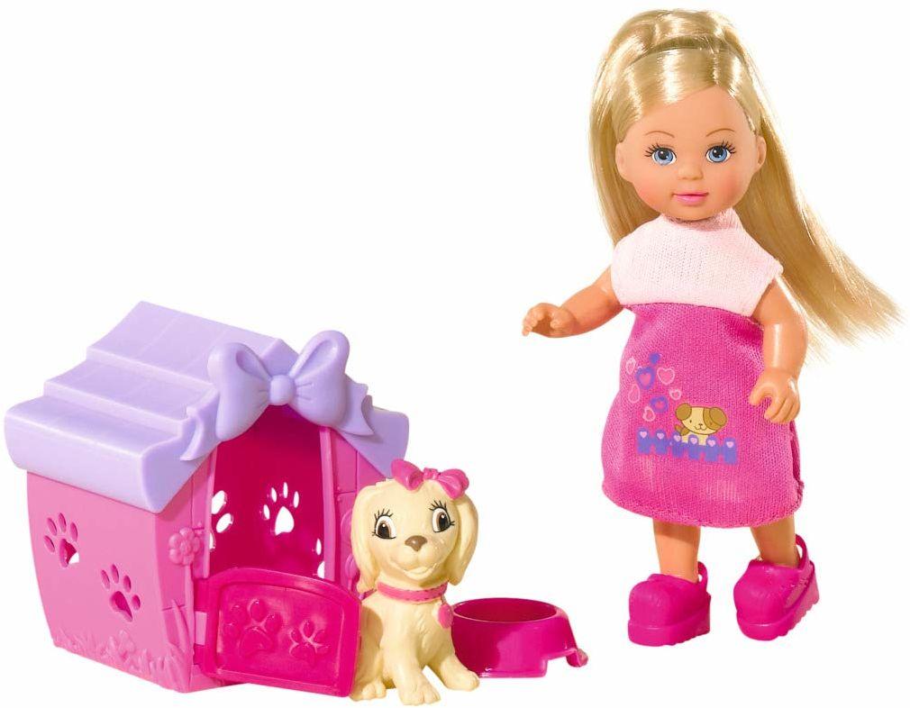 Simba 105735867 - Evi Love Dog House / z figurką i chatą dla psa / lalką do przebierania / 12 cm, dla dzieci od 3 lat