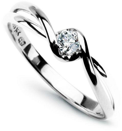 Staviori pierścionek zaręczynowy nowoczesny z białego złota 0,585. 1 diament, szlif brylantowy, masa 0,10 ct., barwa g, czystość si1.