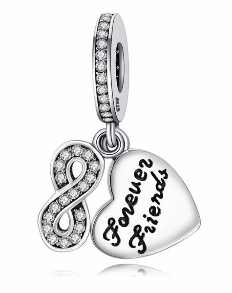 Rodowany srebrny wiszący charms do pandora nieskończona przyjaźć infinity serce cyrkonie srebro 925 PAS375