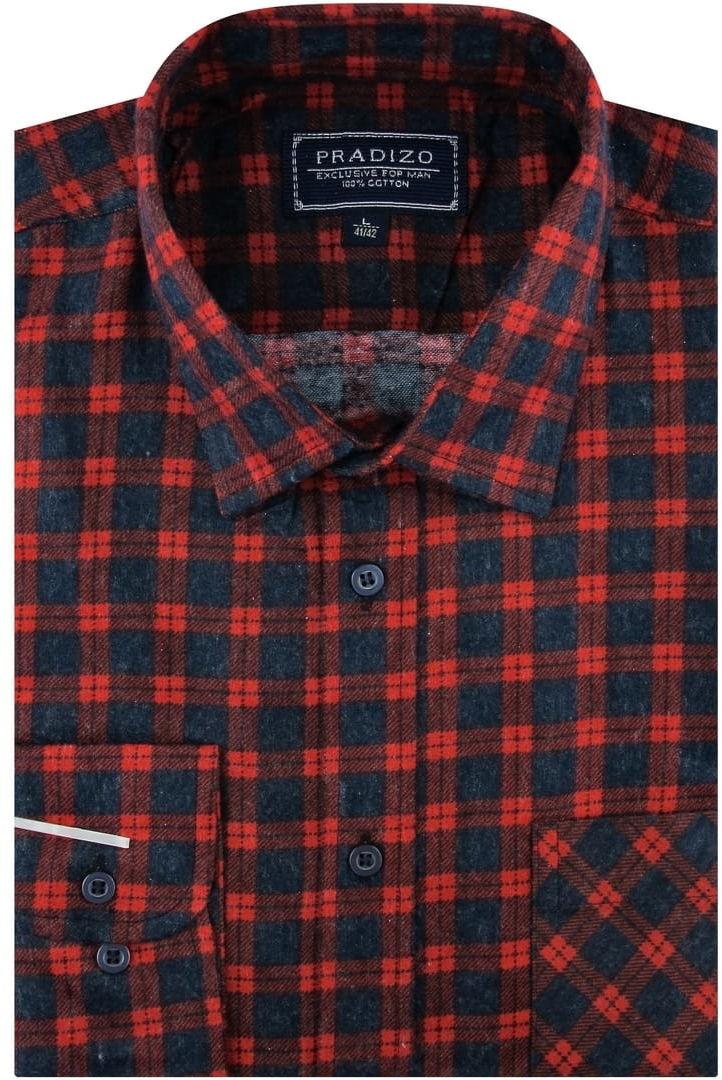 Koszula Męska Flanelowa czerwona w kratę na co dzień do pracy w kroju REGULAR Pradizo A691