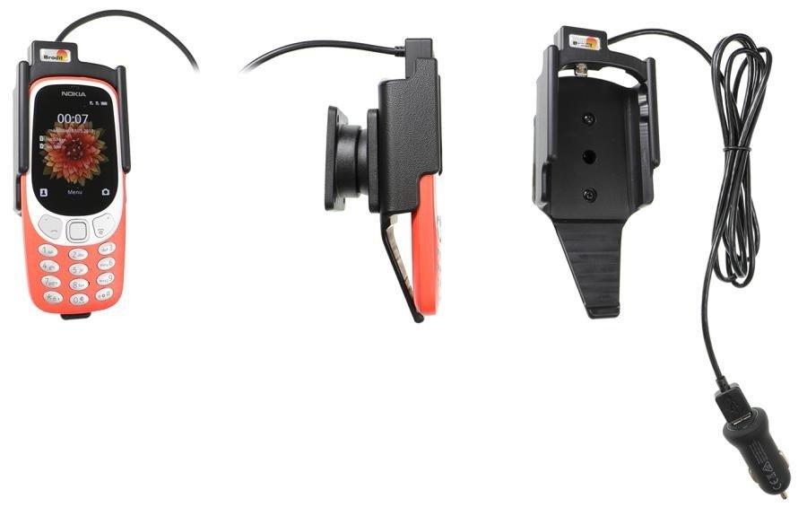 Uchwyt do Nokia 3310 4G, 3G (2018) z wbudowaną ładowarką samochodową/kablem USB