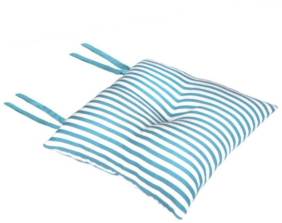 Poduszka na krzesło Silla Paski turkusowa 40 x 40 x 8 cm