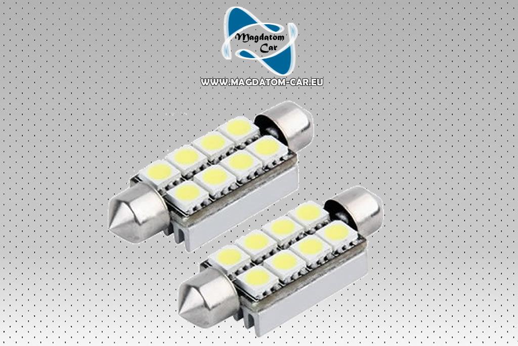 2x Nowe Żarówki Żarówka LED CANBUS 8 SMD 211 C5W 43 mm SOFFITTE VW AUDI BMW OPEL FORD