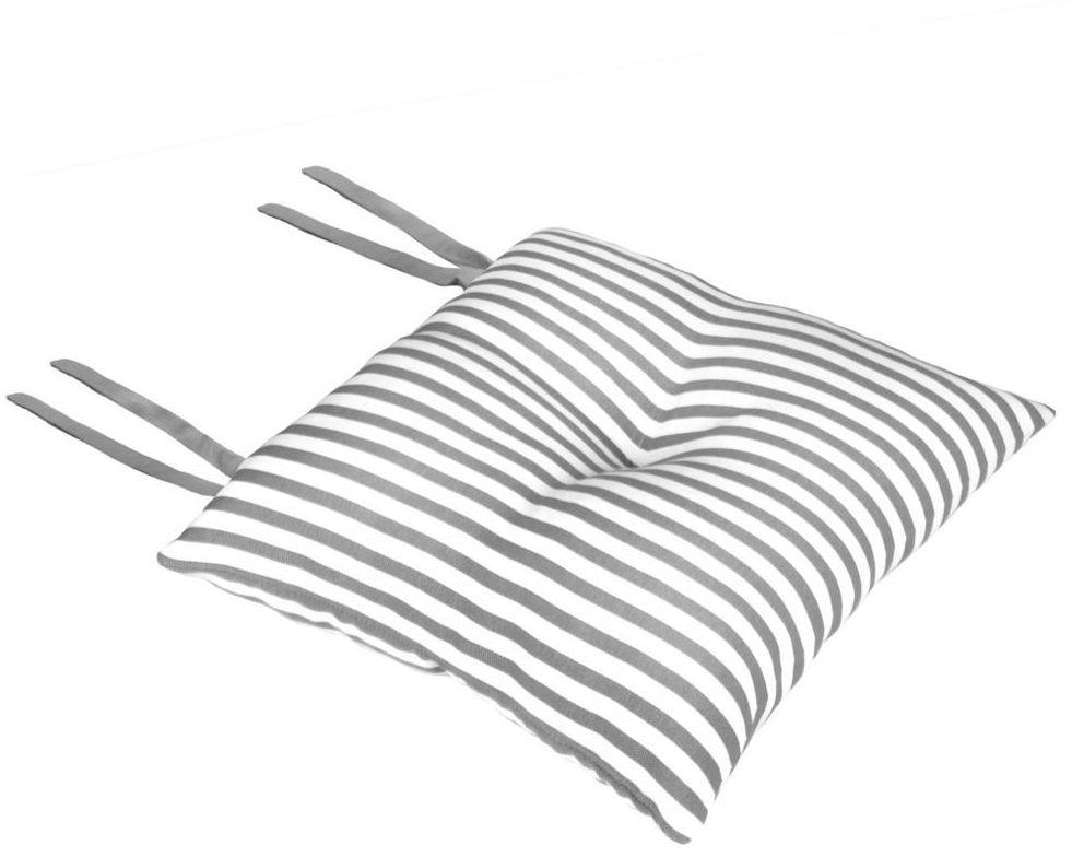 Poduszka na krzesło Silla Paski szara 40 x 40 x 8 cm
