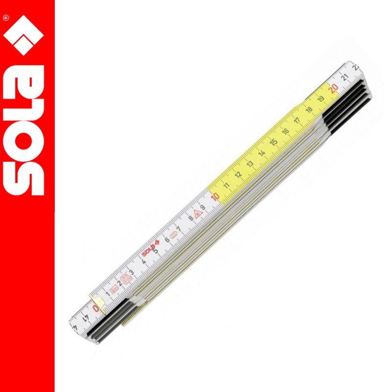 Miarka składana drewniana 2m HF2/10 biało-żółta SOLA