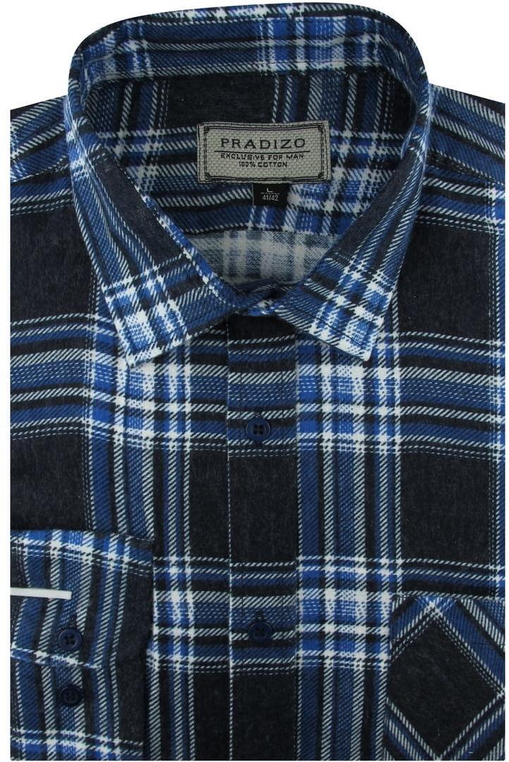 Koszula Męska Flanelowa czarna w niebieską kratę na co dzień do pracy w kroju REGULAR Pradizo A693