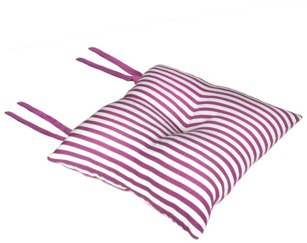 Poduszka na krzesło Silla Paski różowa 40 x 40 x 8 cm