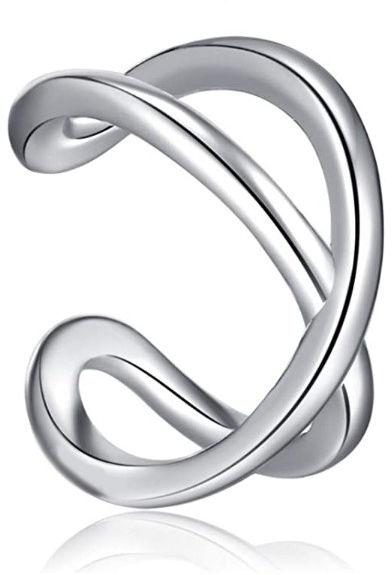Delikatna rodowana srebrna nausznica nieskończoność infinity kolczyk na małżowinę ear cuff srebro 925 Z1879ER
