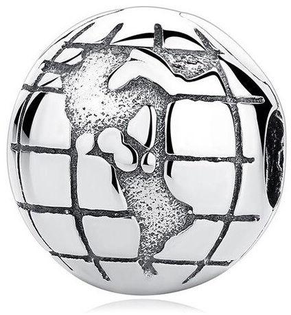 Rodowany srebrny charms do pandora blokada klips globus kula ziemska mapa świata book srebro 925 LOCK45