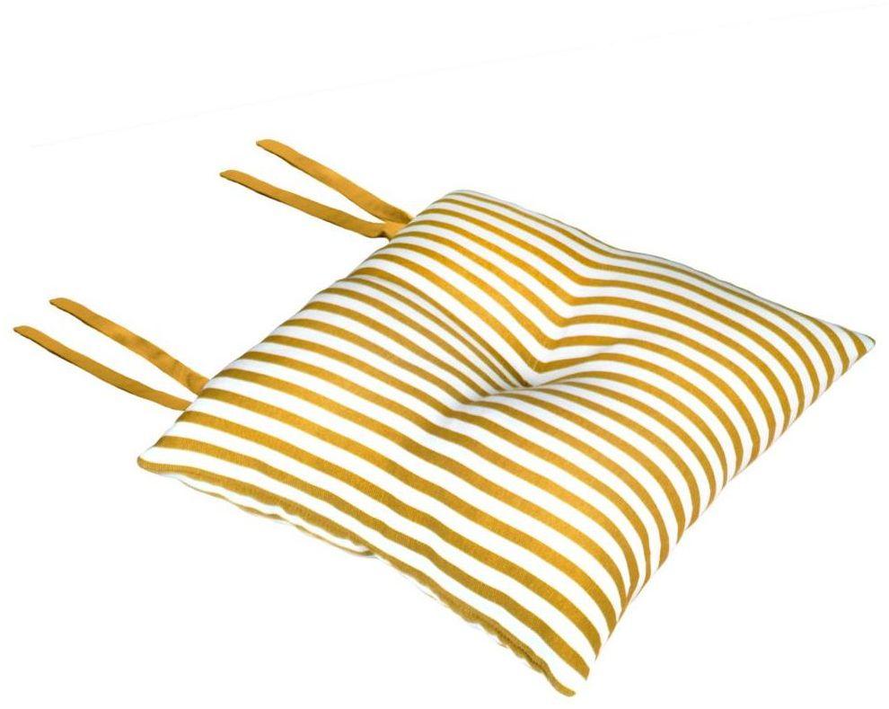 Poduszka na krzesło Silla Paski żółta 40 x 40 x 8 cm