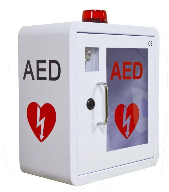 Szafka na AED z kluczem i alarmem - metalowa