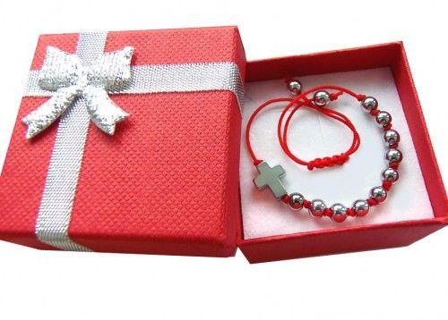 Delikatny różaniec bransoletka na rękę w pudełku na prezent 7993