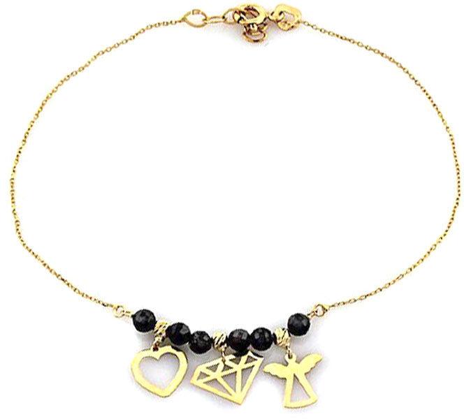 Złota bransoletka 585 czarne kamienie z zawieszkami