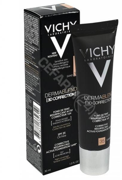 Vichy Dermablend 3D Correction podkład korygująco-wygładzający SPF 25 odcień 35 Sand 30 ml