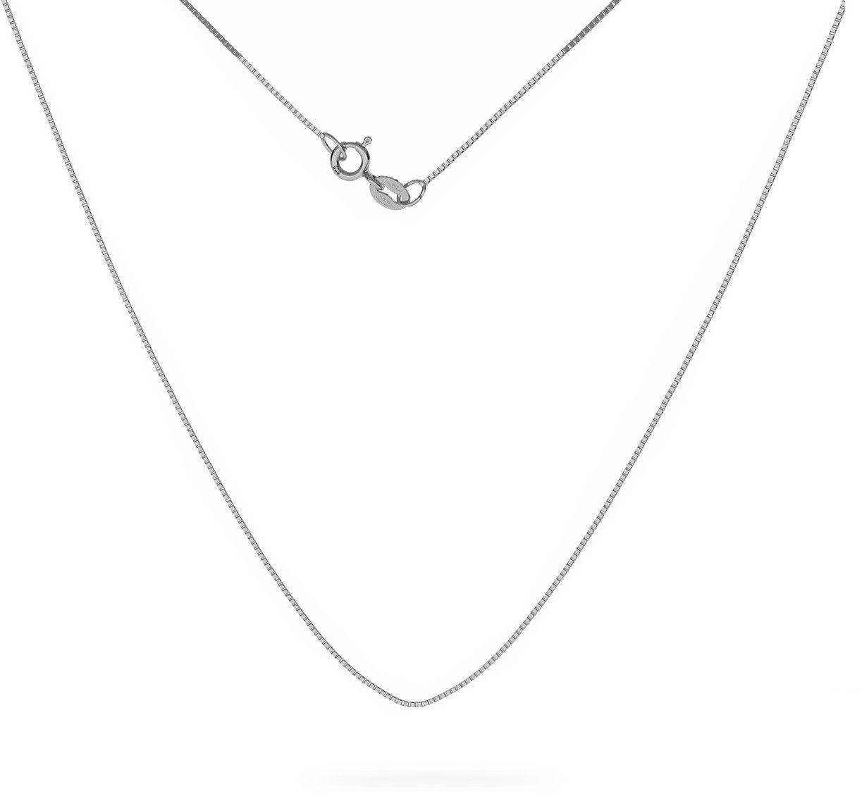 Srebrny łańcuszek kostka diamentowana, srebro 925 : Długość (cm) - 50, Srebro - kolor pokrycia - Pokrycie platyną