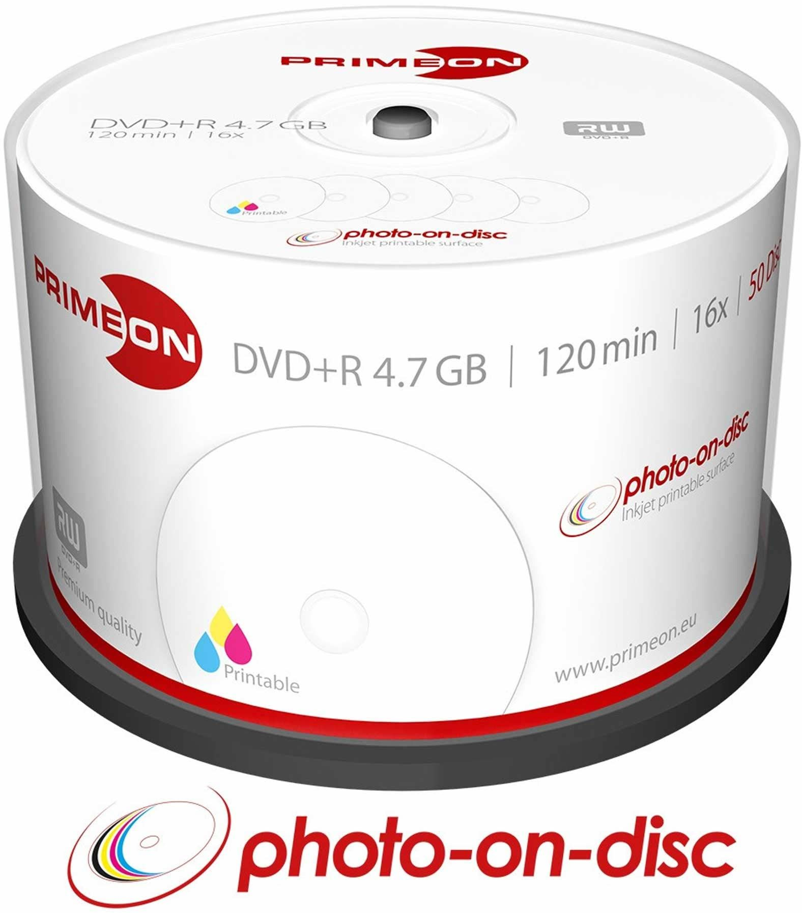 PRIMEON DVD+R 4,7 GB/120 min/16 x pudełko na kanapki (50 płytek), płyta foto-on-disc Surface, Inkjet Fullsize Printable