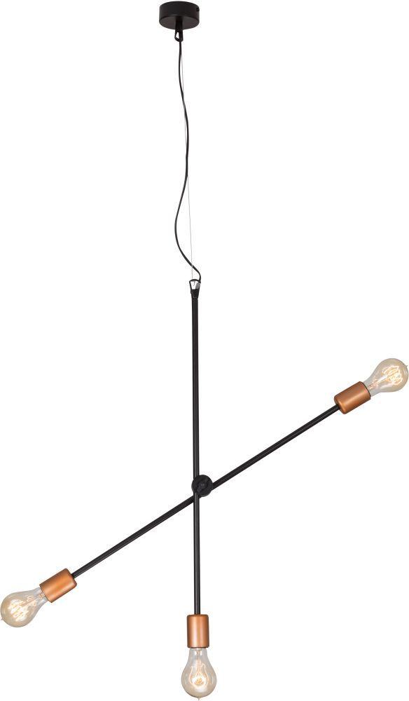 Lampa wisząca Sticks 6268 Nowodvorski Lighting czarno-miedziana potrójna oprawa wiszaca