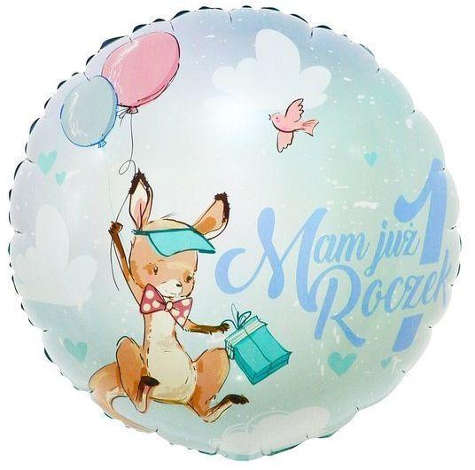 Balon foliowy Mam już Roczek kangurek okrągły 36 cm FG-O1KG