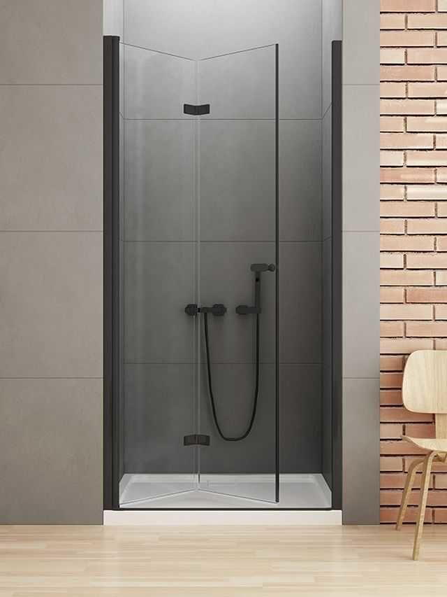 New Trendy New Soleo Black drzwi składane 80 cm lewe, wys. 195 cm, szkło czyste 6 mm D-0221A