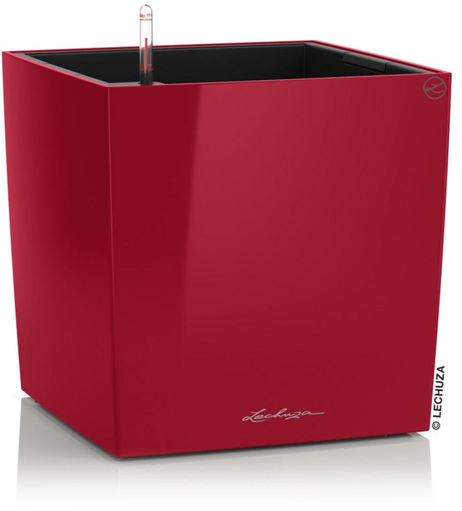 Donica Lechuza CUBE Premium 40 czerwony scarlet połysk