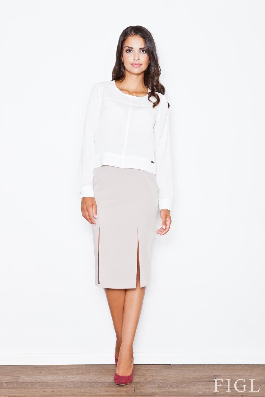 Beżowa elegancka ołówkowa spódnica z podwójnym pęknięciem