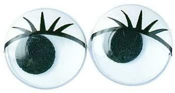 Rayher 8960901 plastikowe ruchome oczy z rzęsami, 15 mm ø, do klejenia, SB