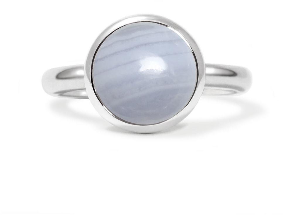 Kuźnia Srebra - Pierścionek srebrny, Agat Koronkowy Błękitny, 5g, model