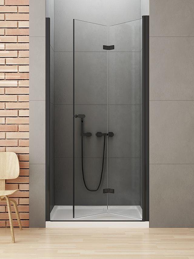 New Trendy New Soleo Black drzwi składane 80 cm prawe, wys. 195 cm, szkło czyste 6 mm D-0222A