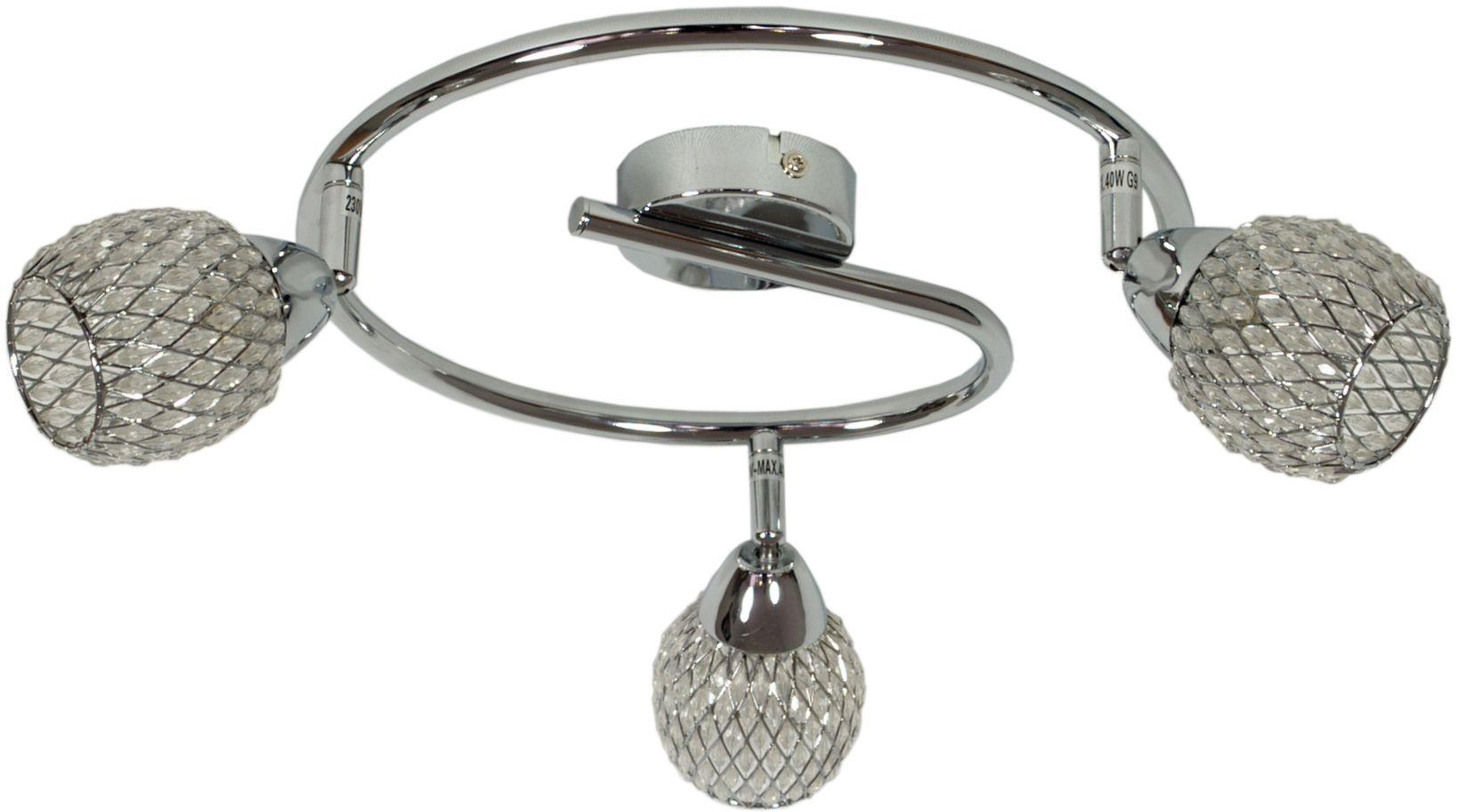 Candellux CLEAR 98-06899 plafon lampa sufitowa spirala chrom kryształki 3X40W G9 64cm