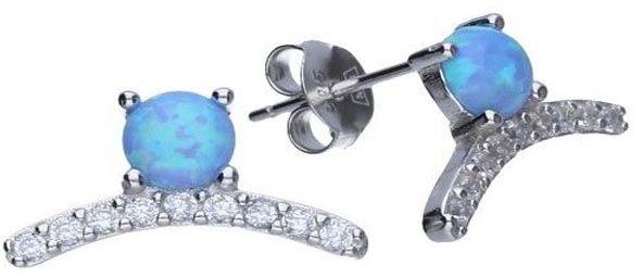 Srebrne kolczyki 925 sztyft Niebieski opal 1,72g