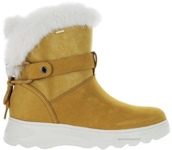 Śniegowce damskie D HOSMOS B ABX BISCUIT/DK GOLD żółteD84AUC0322NC5B2E