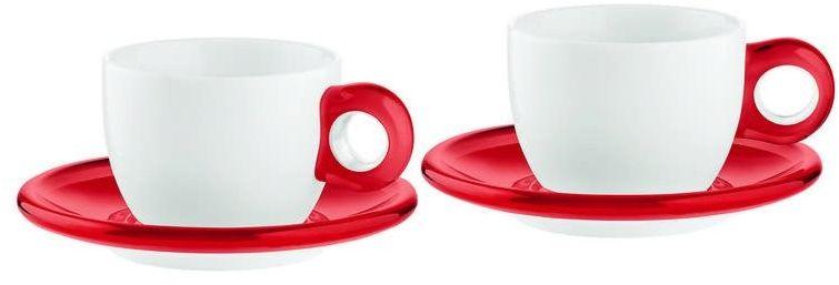 Guzzini - gocce - kpl. 2 filiżanek do cappuccino, czerwone