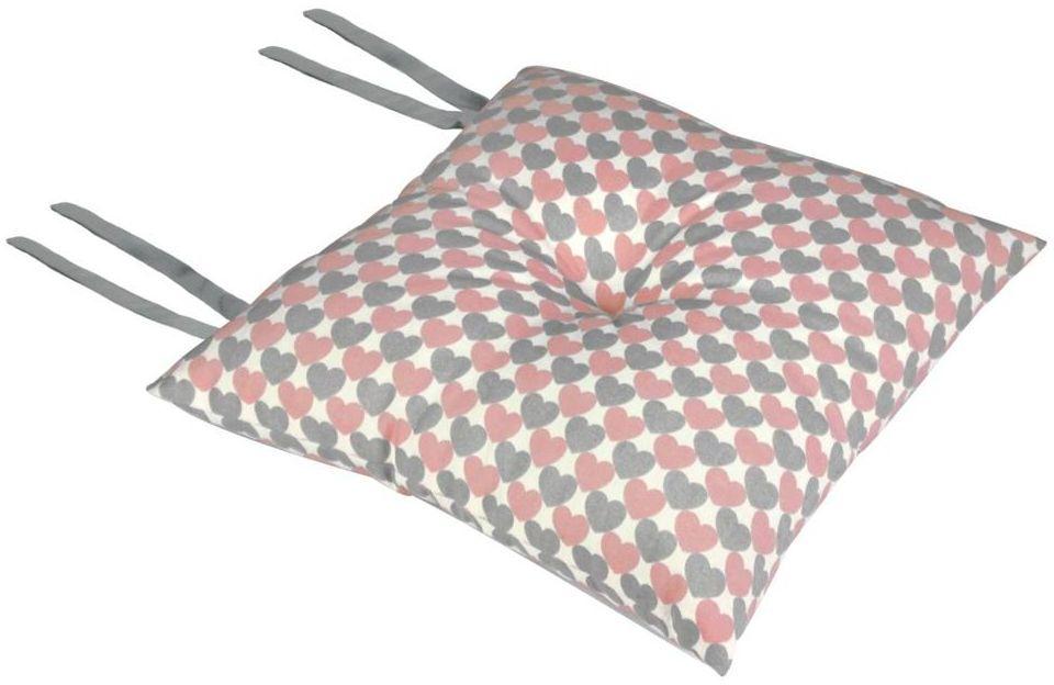 Poduszka na krzesło Silla Serca różowa 40 x 40 x 8 cm