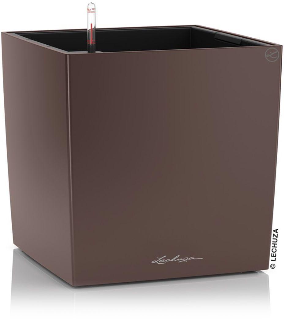 Donica Lechuza CUBE Premium 30 brązowy espresso metalik