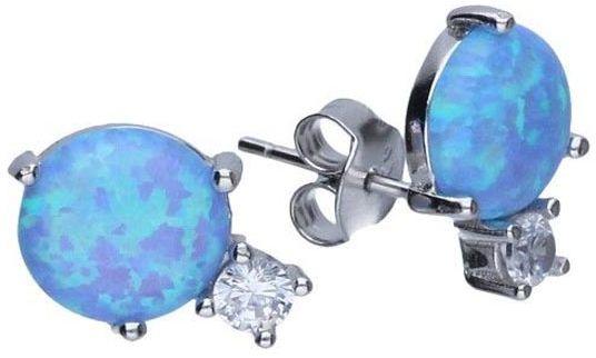 Srebrne kolczyki 925 Niebieski opal i cyrkonia 1,72g