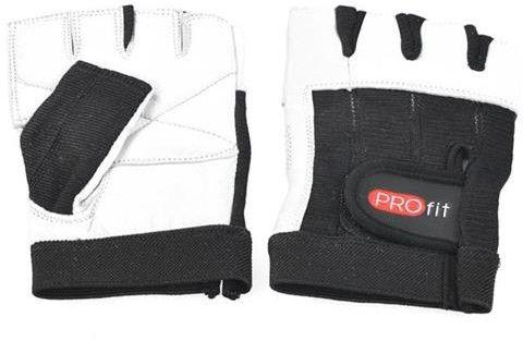 Rękawiczki kulturystyczne PROfit Gym - białe krótkie Rozmiar odzieży: XXL