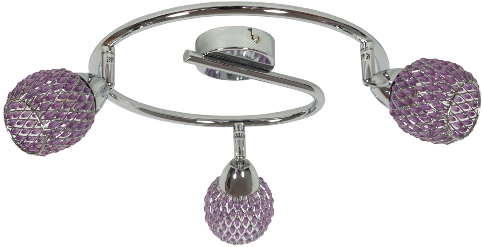 Candellux CLEAR 98-06936 plafon lampa sufitowa chrom kryształki fioletowe 3X40W G9 64cm
