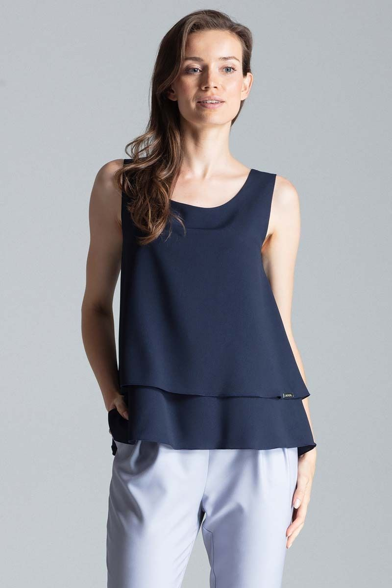 Granatowa delikatna dwuwarstwowa bluzka na szerokich ramiączkach