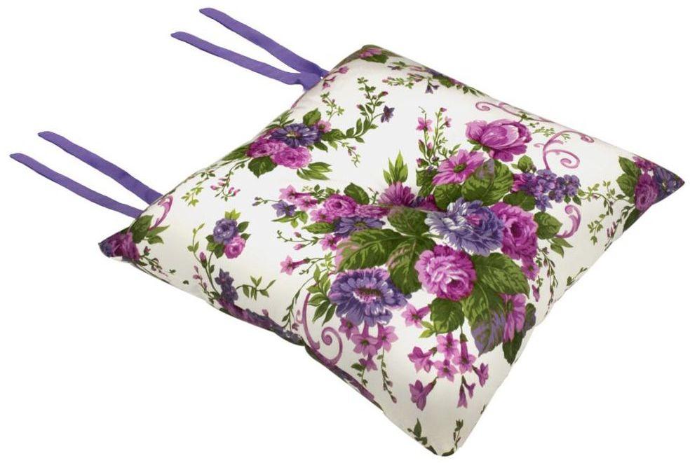 Poduszka na krzesło Silla Blumen fioletowa 40 x 40 x 8 cm